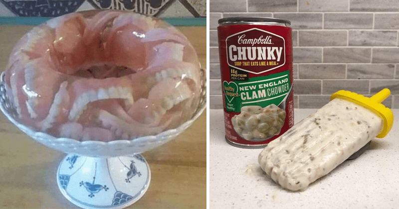 Cringey cursed food images | fake teeth inside a clear round gelatin jelly desert | frozen Popsicle campbell. CHUNKY SOUP EATS LIKE MEAL 1lg PROTEIN PER CAN Healthy NEW ENGLAND CLAM CHOWDER Heart Healthy