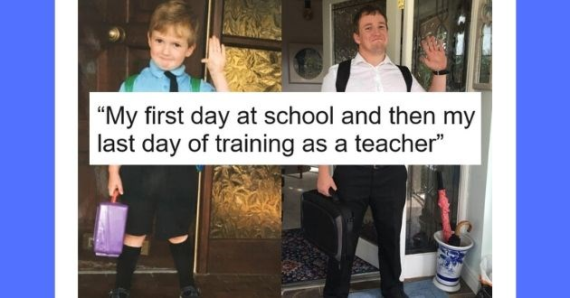 incredible comparison pictures perspective reddit seems | My first day at school and then my last day of training as a teacher young kid holding a lunch box and adult man waving