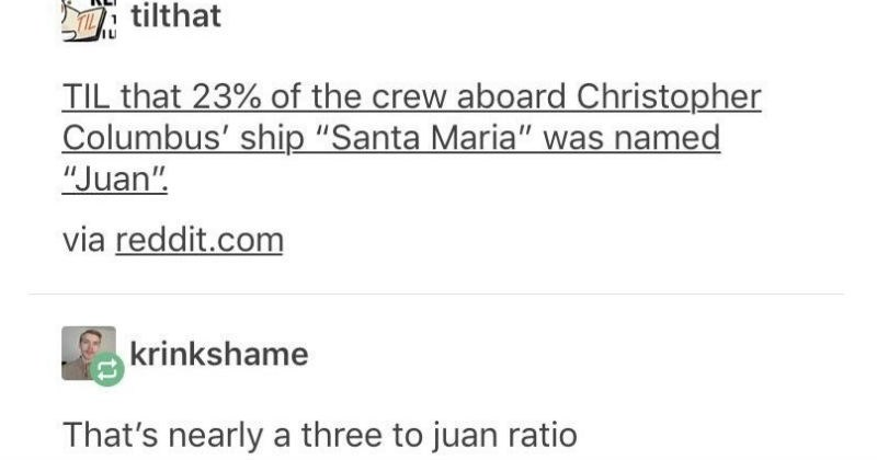 "Funny moments and memes from Tumblr | Y REI tilthat TIL 23 crew aboard Christopher Columbus' ship ""Santa Maria named ""Juan via reddit.com krinkshame 's nearly three juan ratio recoil-operated son bitch purplespaladin Wouldn't be four juan? mens-rights-activia No, 3 Juan is correct because every 4 people, 3 are not Juan and one is Juan; 3:1 means there are 4 parts all together, 75%:25 s ratios work"