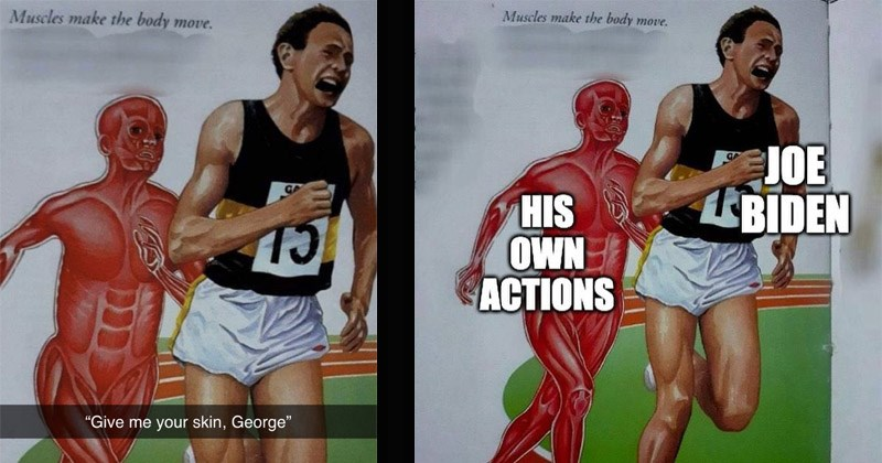 """Funny dank memes entitled, """"Muscle Man Chasing Runner"""" 