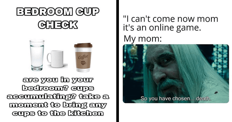 Funny random memes | BEDROOM CUP CHECK Coffee are bedroom? cups accumulating? take a moment bring any cups kitchen | Saruman can't conme now mom 's an online game. My mom: So have chosen death.