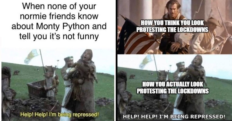 "Funny dank memes from Monty Python and the Holy Grail entitled, ""Help! Help! I'm Being Repressed"" 