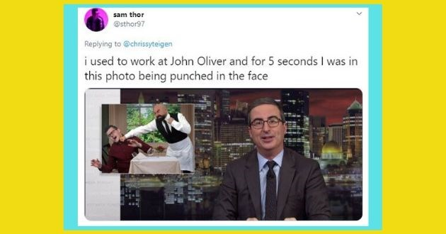 chrissy teigan funny tweet fame one minute | sam thor @sthor97 Replying chrissyteigen used work at John Oliver and 5 seconds this photo being punched face VEEK YO