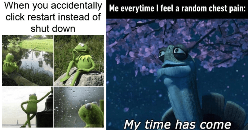 Funny random memes | Kermit the frog in different positions accidentally click restart instead shut down | everytime feel random chest pain: My time has come Kung Fu Panda