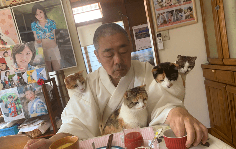 Priest Documents His Daily Life With Four Cats At a Temple In Japan | man in traditional white robes sitting at a desk having a meals with four cats sitting in his lap