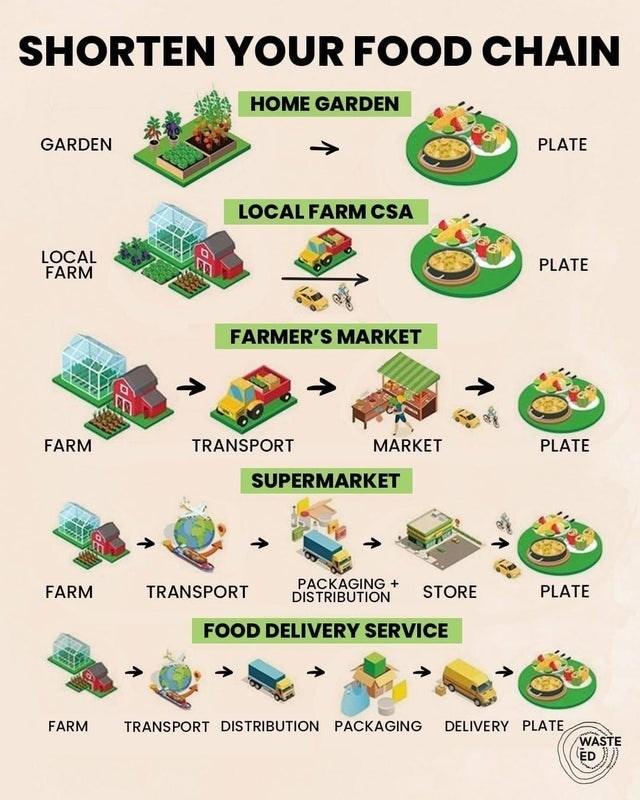 top ten daily infographics guides   SHORTEN FOOD CHAIN HOME GARDEN GARDEN PLATE LOCAL FARM CSA LOCAL FARM PLATE FARMER'S MARKET FARM TRANSPORT MARKET PLATE SUPERMARKET PACKAGING DISTRIBUTION FARM TRANSPORT STORE PLATE FOOD DELIVERY SERVICE FARM TRANSPORT DISTRIBUTION PACKAGING DELIVERY PLATE WASTE ED