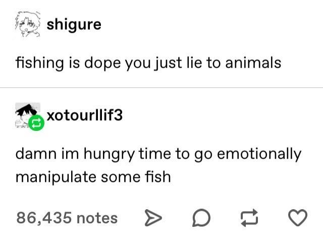 top ten 10 tumblr posts daily   shigure fishing is dope just lie animals xotourllif3 damn im hungry time go emotionally manipulate some fish 86,435 notes