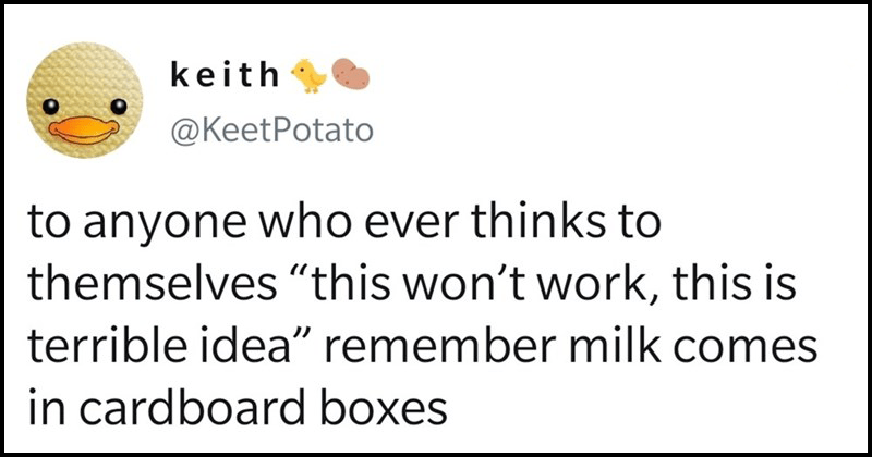 "Funny memes and tweets, twitter memes | keith @KeetPotato anyone who ever thinks themselves ""this won't work, this is terrible idea"" remember milk comes cardboard boxes"
