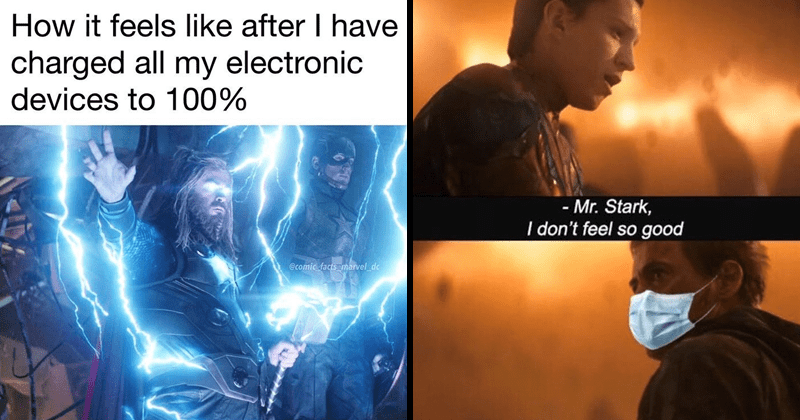 Funny marvel memes and tumblr posts, chris hemsworth | thor with glowing eyes surrounded by lightning feels like after have charged all my electronic devices 100 comic facts marvel_dc | Mr. Stark don't feel so good iron man with a face mask