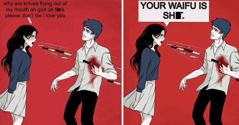 Funny memes, woman shouting knives memes, dank memes, stupid memes   illustration drawing why are knives flying out my mouth oh god oh fuck please don't die love   WAIFU IS SHIT.