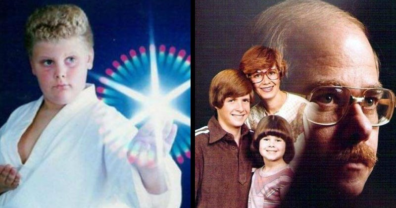 Awkward and funny glamour shots and family photos   kid in a karate uniform posing with a light edited in his hand   mother and two kids superimposed over a large side profile photo of the father