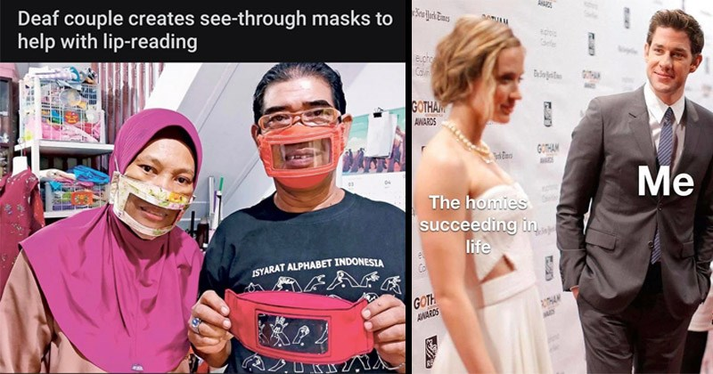 "Cute and wholesome memes | Deaf couple creates see-through masks help with lip-reading 03 04 ISYARAT ALPHABET INDONESIA | Che New Hork Eimes ANARES DATUAM Carle eupho Cavn GOTHAM AWARDS GOTHAM ""kEimes homies succeeding life el Co GOTH ROTHAM AWARDS IWAAM RB John Krasinski looking at Emily Blunt"