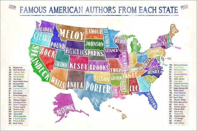 top ten daily infographics guides | FAMOUS AMERICAN AUTHORS EACH STATE L'AMOUR ARU MELOY CLEARY POUND BOCK WILDER JOHNSON SIINGER MACLACHLAN SPARKS STEGNER INPESON UPDIKE PILL INBECK WALUS ANAYA PORTER LEE LHURMAN KESEY BR0OKS C OH Sherwood Anieno OK R on OR Bevely Cleary PA Up TWAIN TOMPSON PARISH HENRY OCONNOR CATHER AL Harper Lee AK Marty Bedeman AZ annete Wa AR John Grisham CA oho Seebeck CO Km Kery CT Kariet lecher Stwe DE Howand Pye FL Carl Hiaasen GA Flannery oConer H Lois Lowry D Era Pun