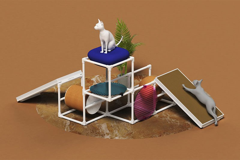 Modular Cat Home | elaborate cat tree with multiple levels and shelves that can be changed and moved around