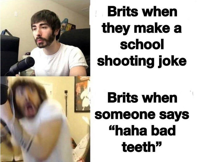 "top ten 10 dank memes | Brits they make school shooting joke Brits someone says ""haha bad teeth"""