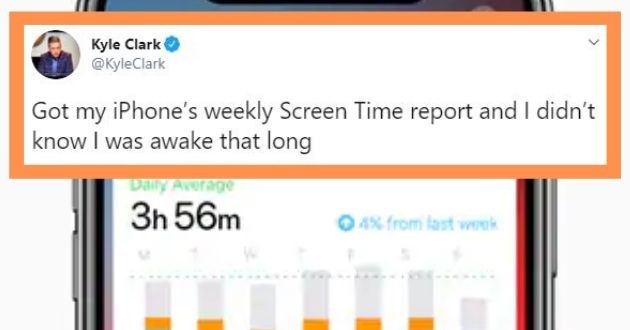 funny tweets screen time report quarantine coronavirus technology boredom | Kyle Clark yleClark Got my iPhone's weekly Screen Time report and didn't know awake long 7:45 PM Apr 5, 2020 Twitter iPhone