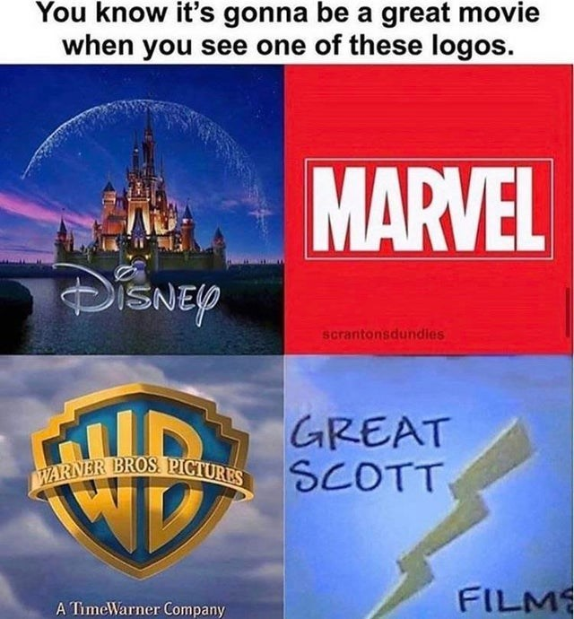 the office top memes | know 's gonna be great movie see one these logos. MARVEL DISNEY scrantonsdundies GREAT SCOTT WARNER BROS PICTURES FILM TimeWarner Company