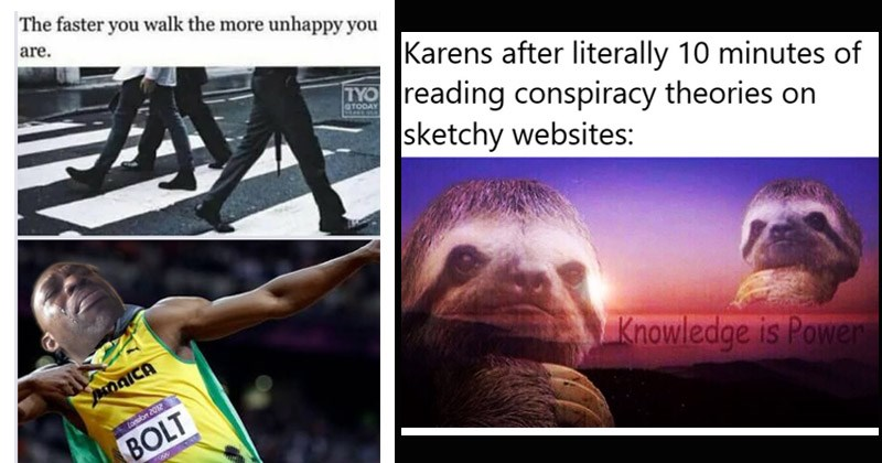 The best dank memes from the past week | faster walk more unhappy are. London 2012 Usain BOLT crying | Karens after literally 10 minutes reading conspiracy theories on sketchy websites: Knowledge is Power sloths superimposed over a photo of a sunset