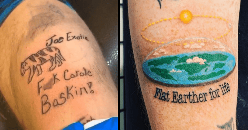 Cringey tattoos, cringeworthy tattoos, tattoo fails | bad tattoo of a tiger and the writing Joe Exotic Fuck Carole Baskin | Flat Earther life flat earth with a sun orbiting above it