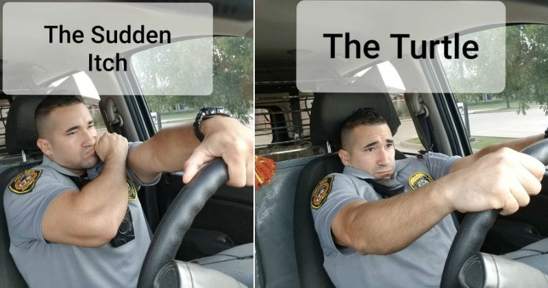 A cop provides quality advice on wearing seatbelts, in a fun manner | police officer sitting in drivers seat in a car Sudden Itch | the turtle