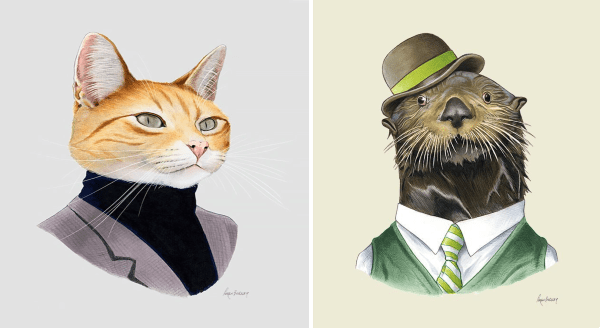 Animals in suits illustrations | handsome ginger cat in a black turtleneck and grey blazer | fancy otter in a green vest and bowl hat
