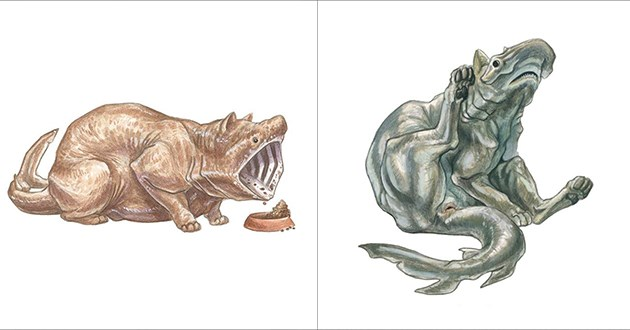 shark cats illustrations funny lol cute animals art reimagined disney princesses | drawing art cat with a basking shark's head and mouth and dog with the head of a hammerhead shark