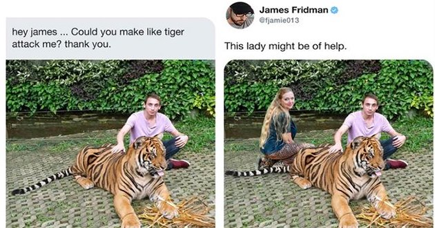 cats memes funny gifs cat aww cute lol animals | carol baskin photoshopped into a photo of a man posing with a tiger James Fridman O @fjamie013 James Fridman @fjamie013 hey james. Could make like tiger attack thank This lady might be help. 11:09 AM 5/16/20 Twitter Web App