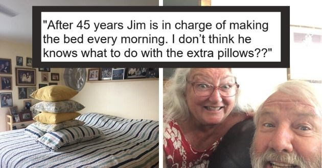 wife husband struggle bed pillows funny facebook documents | After 45 years Jim is in charge of making the bed every morning. I don't think he knows what to do with the extra pillows