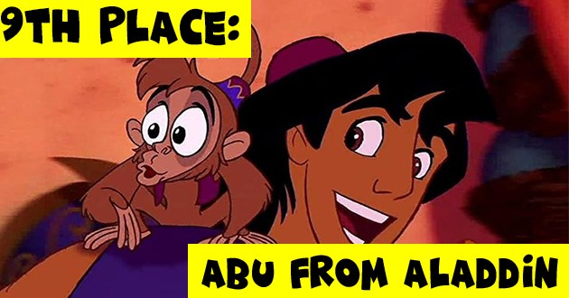 fictional pets ranked animals animation disney movies comics ranking | Abu from Aladdin cartoon animated monkey wearing a fez hat 9th place