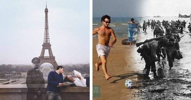 photos mashup history present facebook moments | hitler superimposed over a photo of a couple reading in front of the Eiffel tower | black and white photo of soldiers walking in water next to modern pic of guy playing soccer on a beach