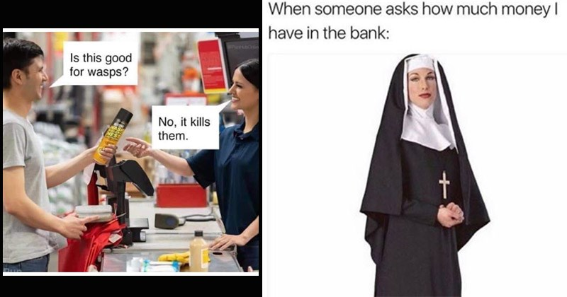 Funny memes about puns | customer and a cashier Is this good wasps? No kills them. WASP NEST | someone asks much money have bank: nun none