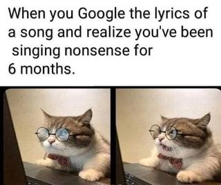 Funny animal memes | Google lyrics song and realize been singing nonsense 6 months. cute cat in round glasses and a bow tie looking at a computer with a shocked expression