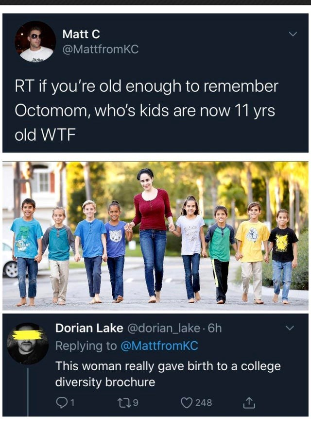top ten daily white people tweets  Person - Matt C @MattfromKC RT if old enough remember Octomom, who's kids are now 11 yrs old WTF Dorian Lake @dorian_lake 6h Replying MattfromKC This woman really gave birth college diversity brochure 01 279 248