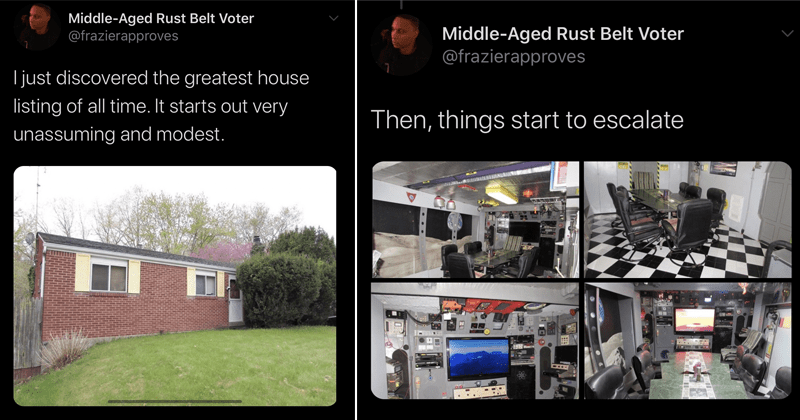 Funny twitter thread about crazy house with a beach in its basement, interior design, @frazierapproves | Middle-Aged Rust Belt Voter @frazierapproves I just discovered greatest house listing all time starts out very unassuming and modest Then, things start escalate 9:06 AM 5/18/20 Twitter iPhone