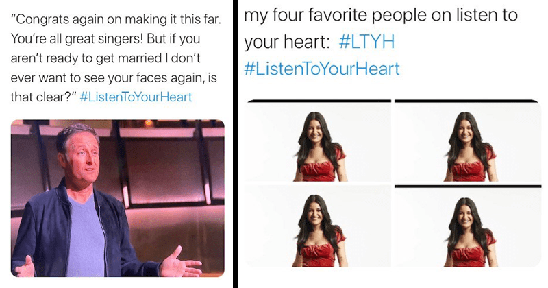 "Funny twitter reactions to the season finale of Bachelor Presents: listen to your heart, chris and bri, jamie and trevor, matt and rudi, chris harrison, singing, reality tv, dating shows | ROSE Rosecast w/ Rim and AB Casts @rosecastpodcast ""Congrats again on making this far all great singers! But if aren't ready get married don't ever want see faces again, is clear ListenToYourHeart 