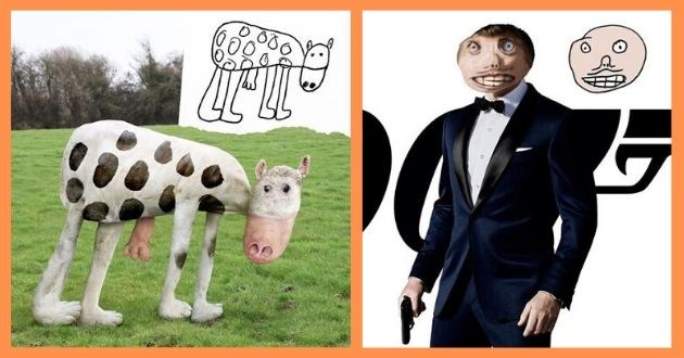 dad instagram son drawing real life art kids drawings | child's drawing of a cow and a 3D rendering of a real life cow in the shape of the drawn one | James Bond with a messed up face