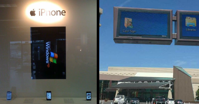 Big public computer screens and electronic billboard fails | apple store with a screen installed on a wall displaying a windows starting screen | electronic billboard showing a computer's desktop and a folder named cool sign