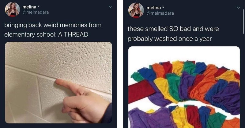 Funny Twitter thread about nostalgic things from elementary school   melina melmadara smelled SO bad and were probably washed once year   bringing back weird memories elementary school running finger between tiles on a wall  