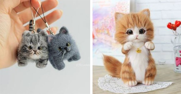 cute felt cats artist art russian cool beautiful adorable animals instagram | tiny phone charms shaped like two little cats and another toy doll of a cat sitting on its hind legs wearing a crown shaped pendant on a necklace