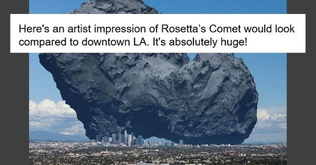 photos true size earth science perspective planets astronaut | Here's an artist impression of Rosetta's Comet (67P/Churyumov–Gerasimenko) would look compared to downtown LA. It's absolutely huge!