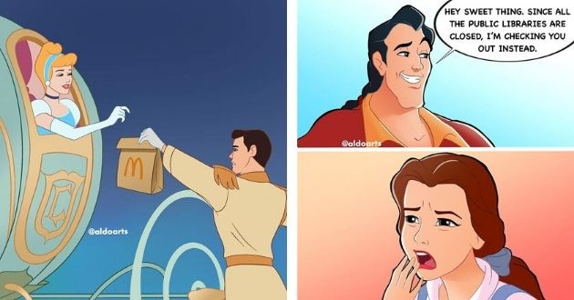 artist disney world coronavirus instagram pictures illustration imagination | Prince Charming handing Cinderella a McDonald's bag | Gaston and Belle Beauty and the Beast HEY SWEET THING. SINCE ALL PUBLIC LIBRARIES ARE CLOSED CHECKING OUT INSTEAD aldoarts