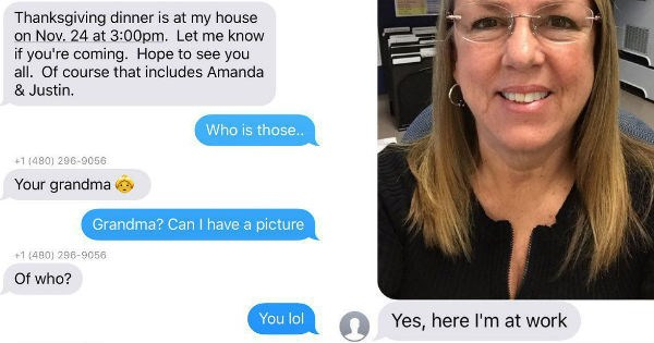 aww twitter adorable wrong number heartwarming thanksgiving grandma reactions texting holidays win - 1153029
