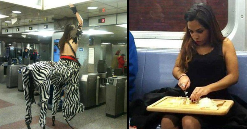Strangers being strange on the subway | person dressed as a centaur shirtless human torso and zebra body | woman cutting onions on a cutting board balanced on her knees