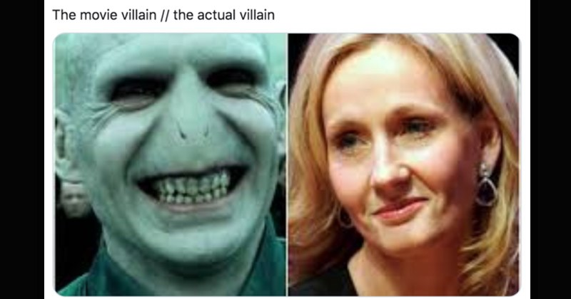 Funny Twitter memes about the 'movie villain vs. the actual villain' | @Clo_vdn May 21 This one is my Dramione peeps Clothilde movie villain actual villain Voldemort and J. K. Rowling