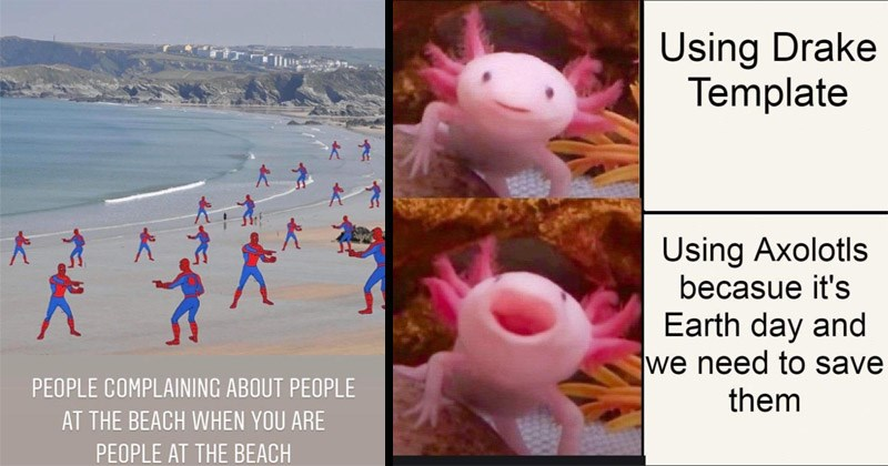 Funny random memes | Spider man pointing at Spider Man PEOPLE COMPLAINING ABOUT PEOPLE AT BEACH ARE PEOPLE AT BEACH | Using Drake Template Using Axolotls because 's Earth day and need save them axolotl
