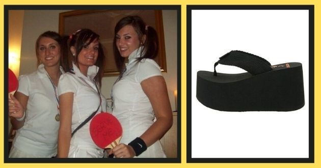 throwback outfits girls 2000 fashion fails 00s rocked | three girls dressed in white polo shirts with the collars popped and holding ping pong rackets | extremely tall wedged sandals