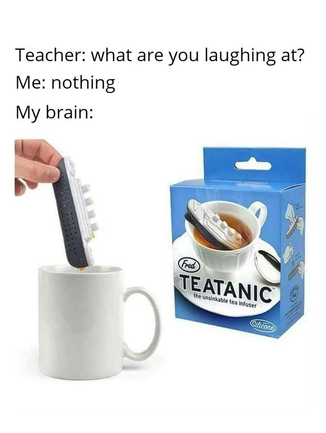 top ten 10 memes daily | Teacher are laughing at nothing My brain: Fred TEATANIC unsinkable tea infuser Clicone titanic ship name pun