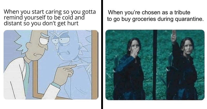 Funny random memes, quarantine memes, rick and morty memes | start caring so gotta remind yourself be cold and distant so don't get hurt | chosen as tribute go buy groceries during quarantine. Katniss The Hunger Games