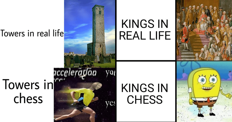 Funny dank memes that compare real life vs chess | Towers real life cceleradan yar Towers chess yes meme man running fast | KINGS REAL LIFE KINGS CHESS KINGS FRANCE beheaded guillotine rounded spongebob