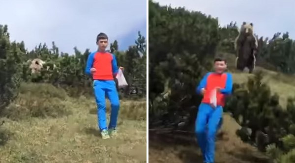 Boy Bravely Manages To Walk Away From a Giant Bear He Encountered | boy in a red and blue tracksuit walking through grass and brush as a large bear looms in the background